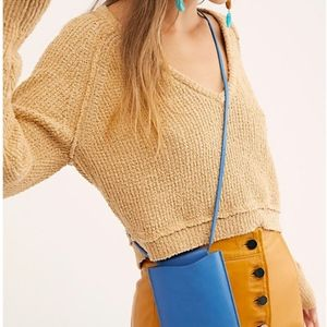 Free People Bags - Free People Blue Leather Crossbody Lanyard Bag,NWT